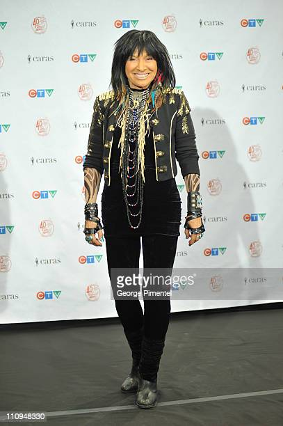 Singer Buffy SainteMarie poses backstage in the press room at the 2011 Juno Awards at the Air Canada Centre on March 27 2011 in Toronto Canada