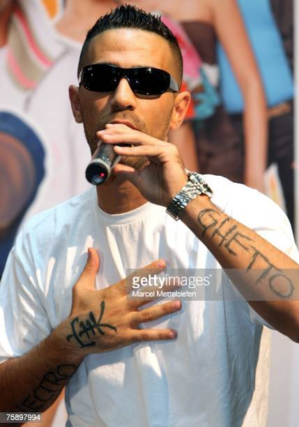 Singer Bushido performs during a photocall for 'Schau nicht weg' Stars against School Violence on August 1 2007 in Berlin Germany