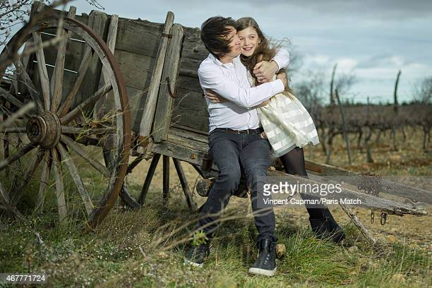 Singer Cali is photographed with his daughter Coco Caliciuri for Paris Match on February 26 2015 in Rivesaltes France