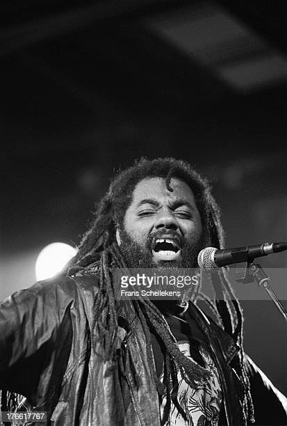 Singer Calton Coffie performs with Inner Circle at the Melkweg in Amsterdam, Netherlands on 12th July 1989.