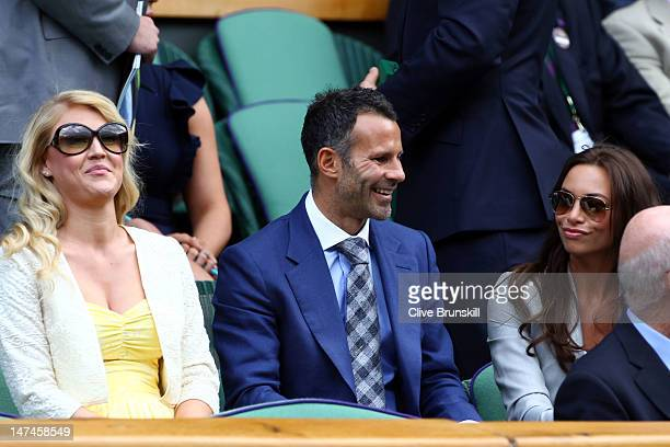 Singer Camilla Kerslake football player Ryan Giggs and his wife Stacey Cooke attend the Ladies' Singles third round match Serena Williams of the USA...