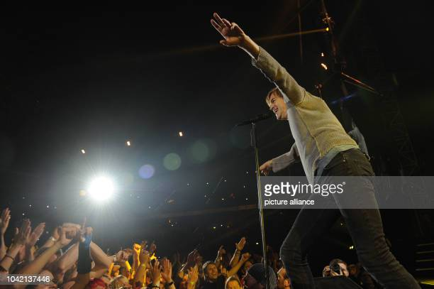 Singer Campino of the Band 'Die Toten Hosen' performes during the first concert of the tour 'Der Krach der Republik' in the Esprit Arena in...