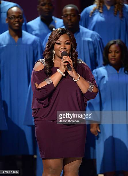 Singer Candice Glover performs onstage during BET Celebration of Gospel 2014 at Orpheum Theatre on March 15 2014 in Los Angeles California
