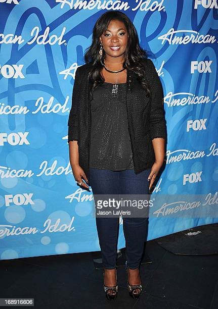 Singer Candice Glover poses in the press room at the American Idol 2013 finale at Nokia Theatre LA Live on May 16 2013 in Los Angeles California