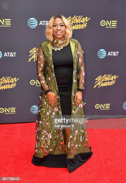 Singer Candy West arrives at the 32nd annual Stellar Gospel Music Awards at the Orleans Arena on March 25, 2017 in Las Vegas, Nevada.