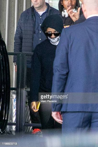 Singer Cardi B is seen arriving at CharlesdeGaulle airport on January 16 2020 in Paris France