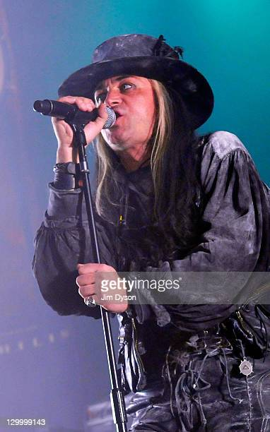 Singer Carl McCoy of gothic rock band Fields of the Nephilim performs live on stage at Brixton Academy on October 22 2011 in London United Kingdom