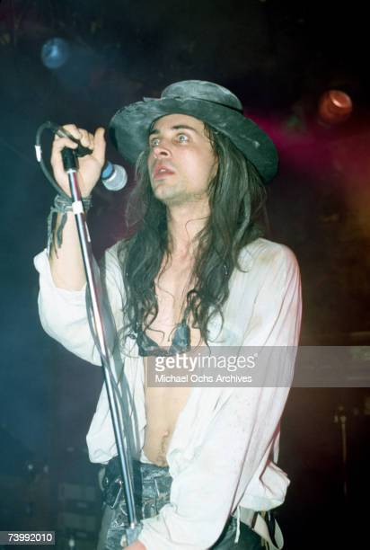 Singer Carl McCoy of the gothic rock band Fields of Nephilim performs onstage in circa 1988