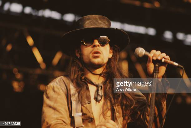 Singer Carl McCoy performing with English gothic rock group Fields of the Nephilim at the Reading Festival 28th August 1987