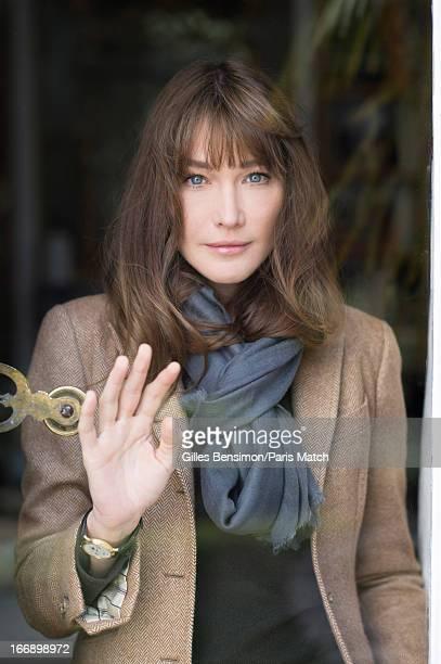 Singer Carla Bruni is photographed for Paris Match on April 1 2013 in Paris France