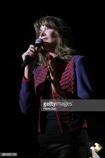 Singer Carla Bruni is seen performing during her new show at Le Trianon on December 2 2017 in Paris France
