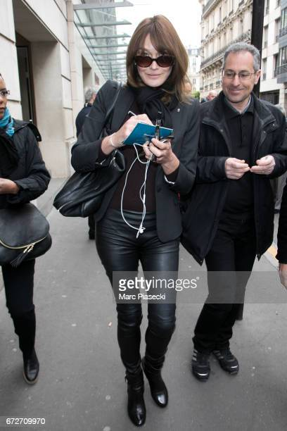 Singer Carla Bruni Sarkozy is seen leaving the 'RTL' radio station on April 25 2017 in Paris France