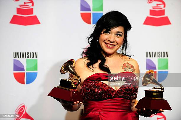 Singer Carla Morrison arrives at the press room for the 13th annual Latin GRAMMY Awards held at the Mandalay Bay Events Center on November 15 2012 in...
