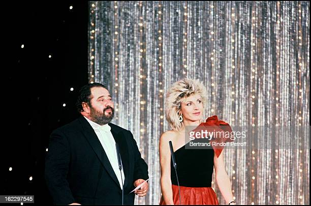 Singer Carlos and Evelyne Dheliat at the '7 d'Or' TV Awards Ceremony 1987