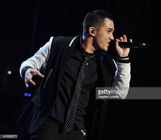 Singer Carlos Pena Jr of Big Time Rush performs at Radio City Music Hall on March 9 2012 in New York City