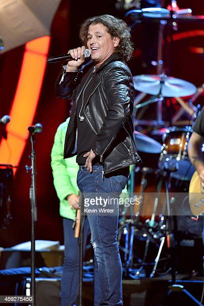 Singer Carlos Vives performs onstage during rehearsals for the 15th annual Latin GRAMMY Awards at the MGM Grand Garden Arena on November 19 2014 in...