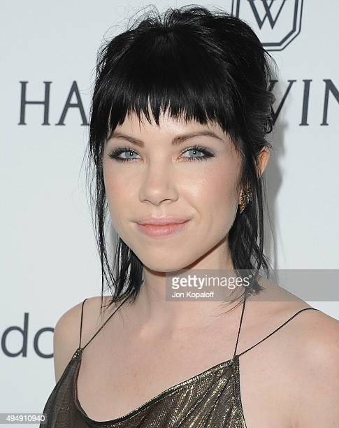 Singer Carly Rae Jepsen arrives at amfAR's Inspiration Gala Los Angeles at Milk Studios on October 29 2015 in Hollywood California