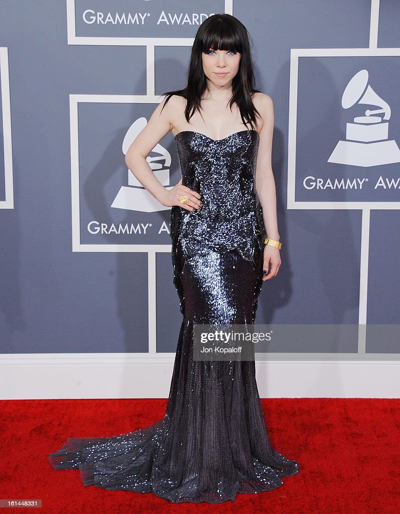 Singer Carly Rae Jepsen arrives at The 55th Annual GRAMMY Awards at Staples Center on February 10, 2013 in Los Angeles, California.