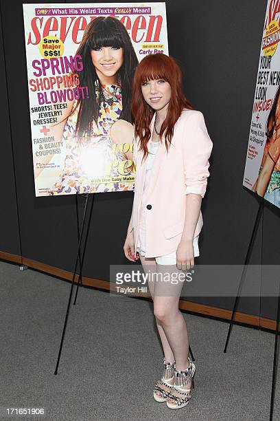"""Singer Carly Rae Jepsen attends a Seventeen Magazine Luncheon Honoring """"Pretty Amazing"""" Finalists at Hearst Tower on June 27, 2013 in New York City."""