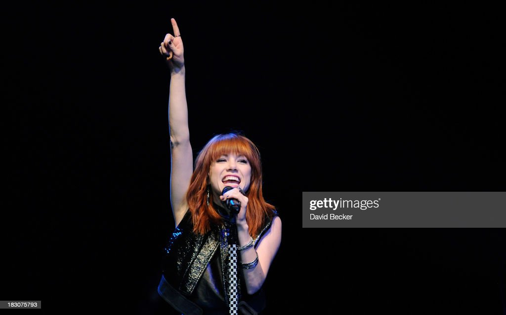 Singer Carly Rae Jepsen performs during the 'UniteLIVE: The Concert to Rock Out Bullying' at the Thomas & Mack Center on October 3, 2013 in Las Vegas, Nevada.