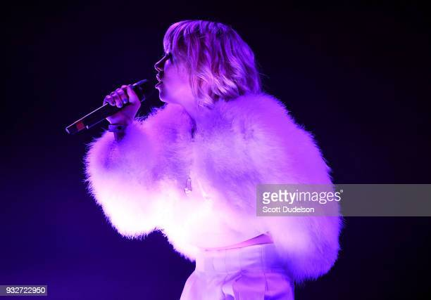Singer Carly Rae Jepsen performs onstage as a special guest during Charli XCX 'Pop 2' performance at El Rey Theatre on March 15 2018 in Los Angeles...