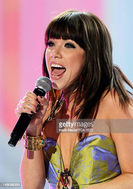 Singer Carly Rae Jepsen performs onstage during the 2012 Teen Choice Awards at Gibson Amphitheatre on July 22 2012 in Universal City California