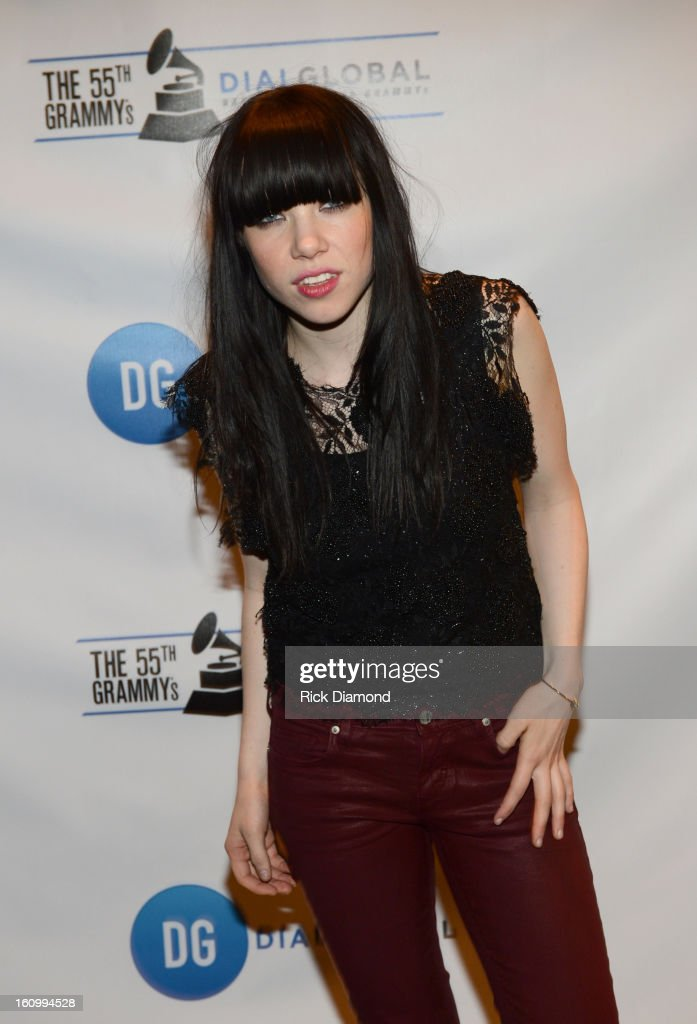 Singer Carly Rae Jepsen poses backstage at the GRAMMYs Dial Global Radio Remotes during The 55th Annual GRAMMY Awards at the STAPLES Center on February 8, 2013 in Los Angeles, California.