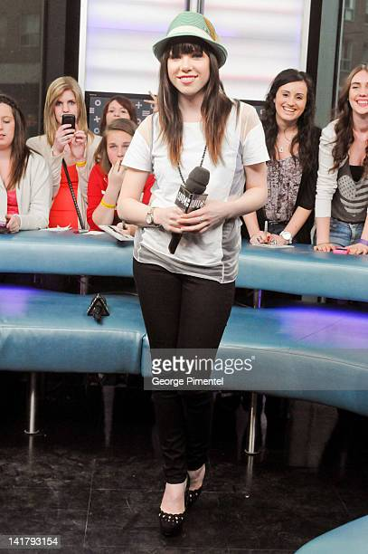 Singer Carly Rae Jepsen visits MuchMusic Headquarters on March 23 2012 in Toronto Canada