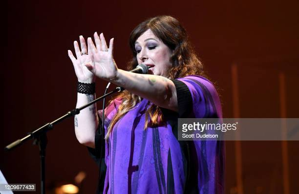 Singer Carnie Wilson of the group Wilson Phillips performs onstage during the Wild Honey Foundation's benefit for Autism Think Tank at Alex Theatre...