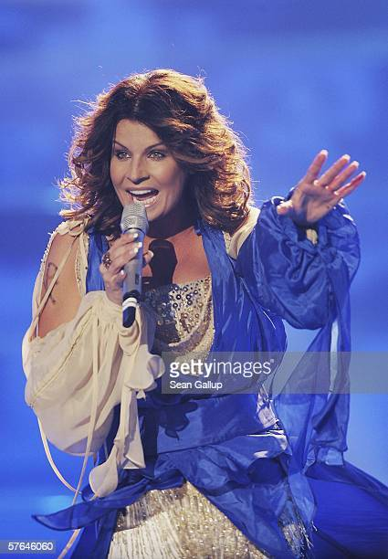 Singer Carola of Sweden performs at the dress rehearsal prior to the semifinals of the 2006 Eurovision Song Contest May 18 2006 in Athens Greece