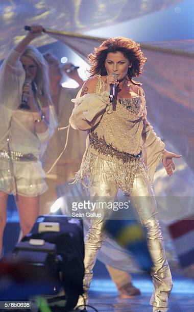 Singer Carola of Sweden performs at the semifinals of the 2006 Eurovision Song Contest May 18 2006 in Athens Greece