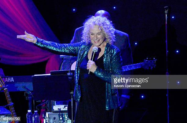 Singer Carole King onstage at the PreGRAMMY Gala and Salute To Industry Icons honoring Martin Bandier at The Beverly Hilton Hotel on February 7 2015...