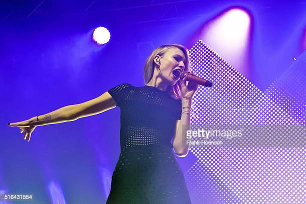 Singer Carolin Niemczyk of the German band Glasperlenspiel performs live during a concert at the Huxleys on March 18 2016 in Berlin Germany