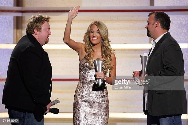 Singer Carrie Underwood accepts the Album of the Year award onstage during the 42nd Annual Academy Of Country Music Awards held at the MGM Grand...