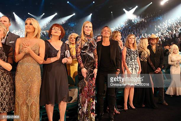 Singer Carrie Underwood actress Nicole Kidman singer Keith Urban singer Jason Aldean and guests attend the 51st Academy of Country Music Awards at...