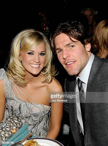 Singer Carrie Underwood and professional hockey player Mike Fisher during the 52nd Annual GRAMMY Awards Salute To Icons Honoring Doug Morris held at...