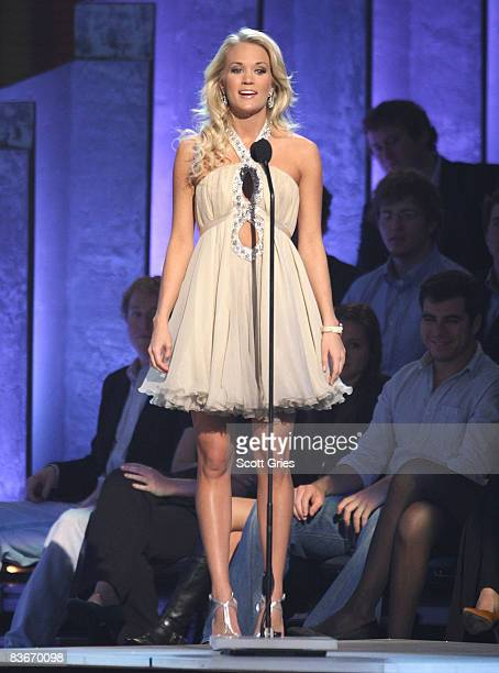 Singer Carrie Underwood appears on stage during the 42nd Annual CMA Awards at the Sommet Center on November 12 2008 in Nashville Tennessee