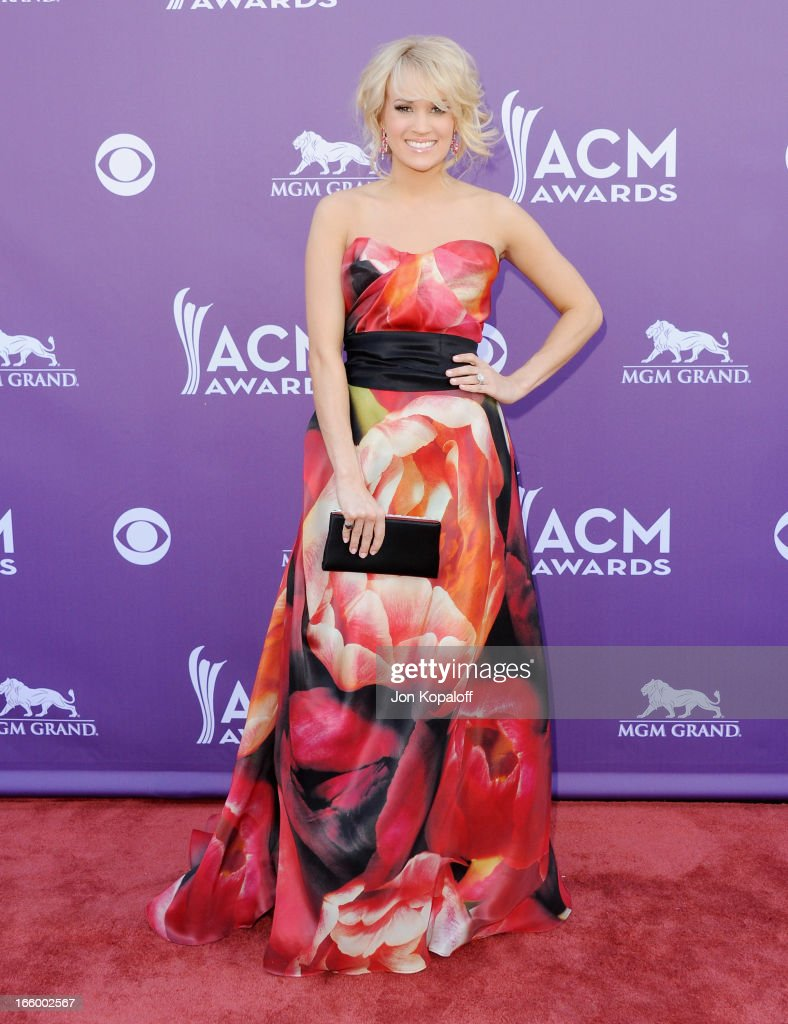 Singer Carrie Underwood arrives at the 48th Annual Academy Of Country Music Awards at MGM Grand Garden Arena on April 7, 2013 in Las Vegas, Nevada.