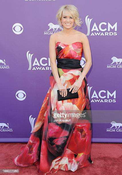 Singer Carrie Underwood arrives at the 48th Annual Academy Of Country Music Awards at MGM Grand Garden Arena on April 7 2013 in Las Vegas Nevada