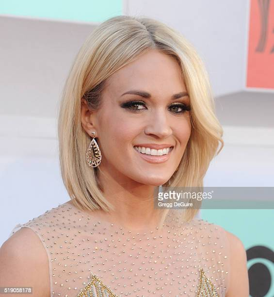 Singer Carrie Underwood arrives at the 51st Academy Of Country Music Awards at MGM Grand Garden Arena on April 3 2016 in Las Vegas Nevada