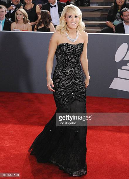 Singer Carrie Underwood arrives at The 55th Annual GRAMMY Awards at Staples Center on February 10 2013 in Los Angeles California
