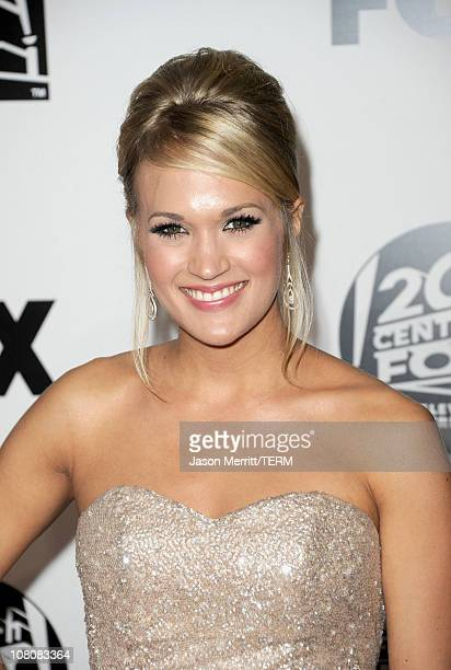 Singer Carrie Underwood arrives at the Fox Searchlight 2011 Golden Globe Awards Party held at The Beverly Hilton hotel on January 16 2011 in Beverly...