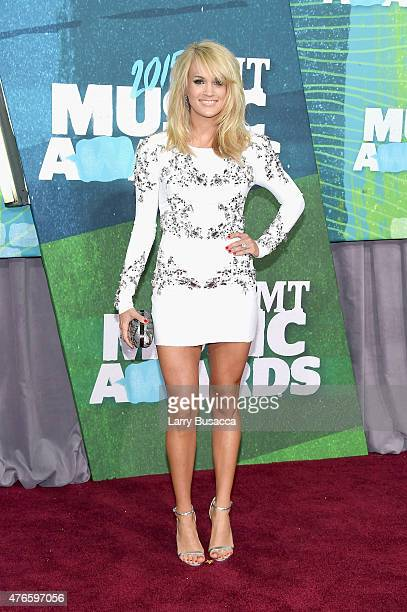 Singer Carrie Underwood attends the 2015 CMT Music awards at the Bridgestone Arena on June 10 2015 in Nashville Tennessee