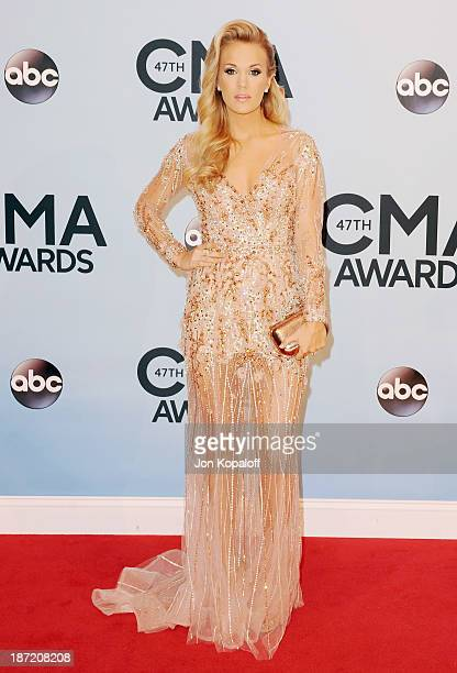 Singer Carrie Underwood attends the 47th annual CMA Awards at the Bridgestone Arena on November 6 2013 in Nashville Tennessee
