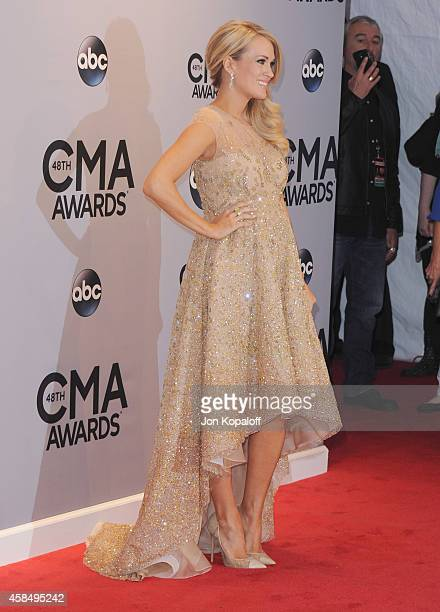 Singer Carrie Underwood attends the 48th annual CMA Awards at the Bridgestone Arena on November 5 2014 in Nashville Tennessee