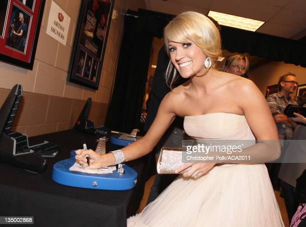 Singer Carrie Underwood attends the American Country Awards 2011 at the MGM Grand Garden Arena on December 5 2011 in Las Vegas Nevada