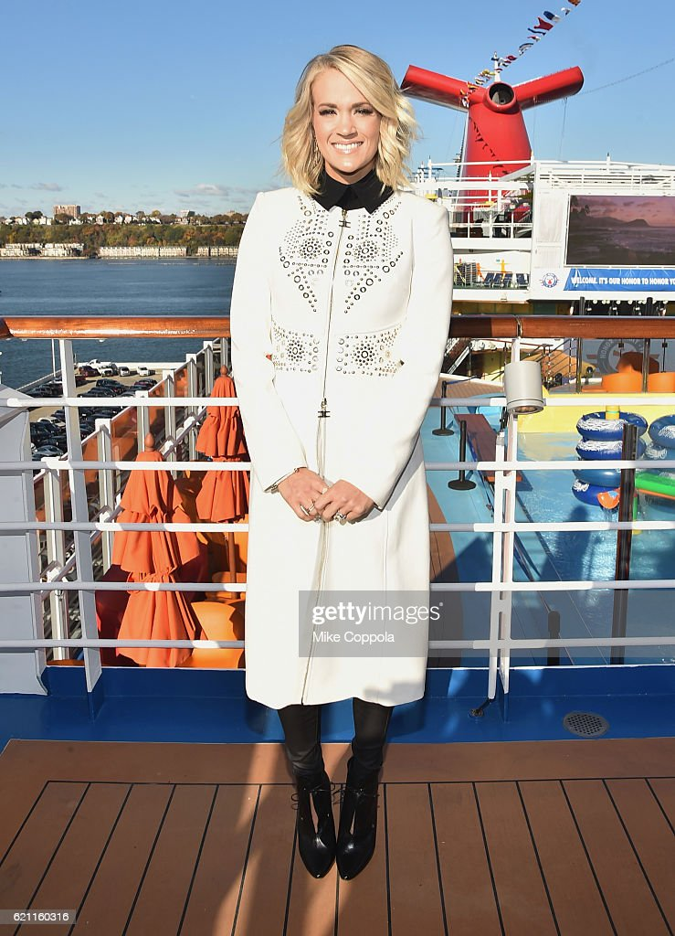 Singer Carrie Underwood attends the Carnival Vista U.S. debut with Carrie Underwood and Godmother Miss USA to celebrate the Honor.Family.Fun Campaign and Operation Homefront at Carnival Vista, Manhattan Cruise Terminal on November 4, 2016 in New York City.