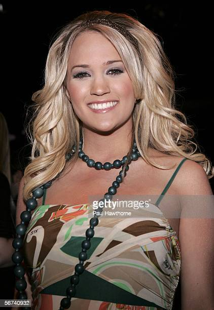 Singer Carrie Underwood from American Idol attends the Baby Phat Fall 2006 fashion show during Olympus Fashion Week at Bryant Park February 3 2006 in...