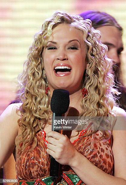 Singer Carrie Underwood is named the new American Idol onstage during the American Idol Finale Results Show held at the Kodak Theatre on May 25 2005...