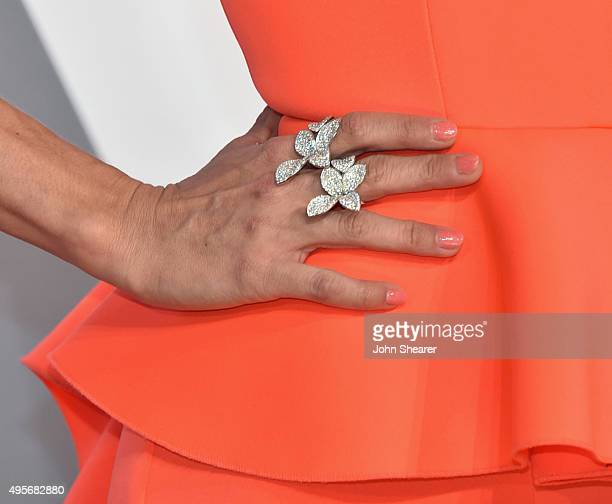 Singer Carrie Underwood jewelry detail attends the 49th annual CMA Awards at the Bridgestone Arena on November 4 2015 in Nashville Tennessee